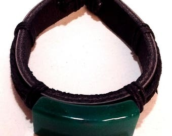 Adjustable Leather Bracelet with Green Glass
