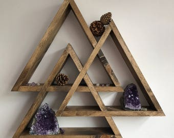 Valknut, ORIGINAL DESIGNER, display shelf, centerpiece, crystal display shelf, crystals, triangle shelf, gothic, viking, pagan, mountain