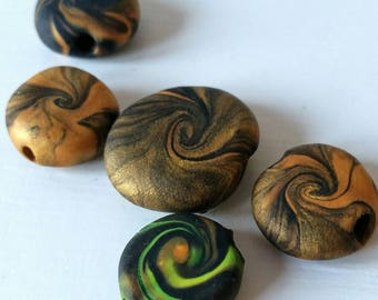 Gold swirl polymer clay beads