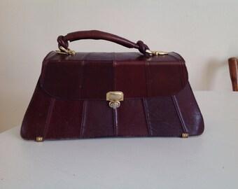 Bag Handbag brown Leather Vintage Top Handle golden clasp