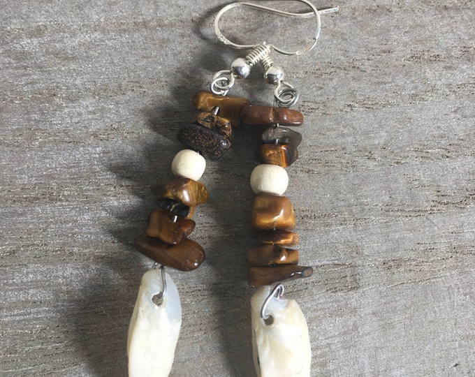 Tigers eye drop earrings with drilled seashells