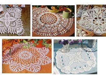5 pcs crochet doily pattern-only diagram-in pdf-45