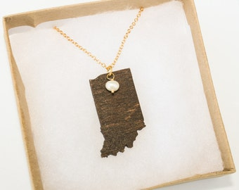 Indiana Necklace, Indiana State Necklace, Wooden State Necklace, Indiana Jewelry,  Personalized Gift, Going Away Gift