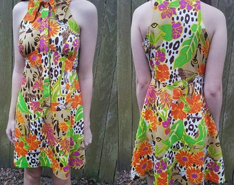 Vintage dress small medium 70s animal print Floral women's clothing spring summer dress