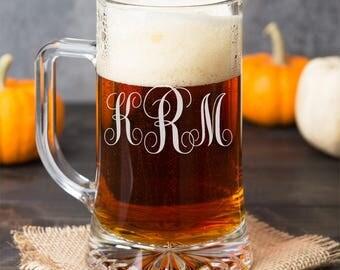 Classic Vine Monogram Personalized Engraved Beer Mug Glass - DGI23-A11