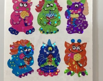 2 Squares Vintage Rare Sandylion Silly Monster Glittery Stickers