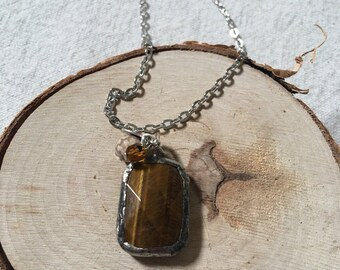 "Tigers Eye • organic • natural stone • soldered • necklace • pendant • neutral • 30"" chain necklace •"