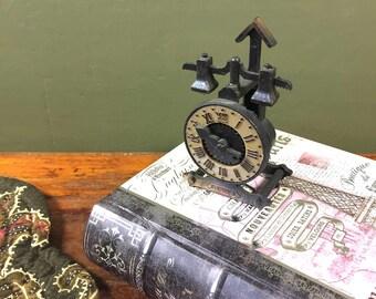 Vintage Clock Pencil Sharpener, Steampunk Clock Pencil Sharpeners, Unique Rare, Desk Accessories, Vintage Office, Vintage Desk, Cast Metal