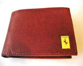 Ferrari Brown Calfskin Men's Bifold Wallet