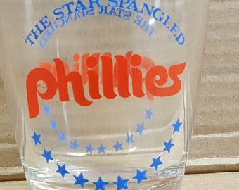 Star Spangled Phillies whiskey glass 1976