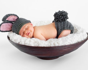 Crochet Bunny Rabbit Photo Prop, baby bunny outfit