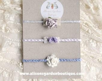 Newborn Headband- Tieback- Purple- Lavender- Photography Prop