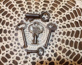 Vintage and Antique Barrel Keys-Lot of 5