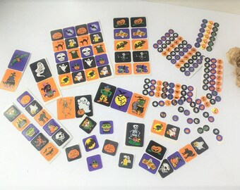 Mixed Lot of Vintage Halloween Stickers / Halloween Stickers / Set of Stickes / Kids Stickers / Orange Stickers / Black Stickers