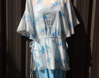 25% off 70's Light Blue Maxi Dress with Floral Overlay - Bridesmaid Dress - Australian Size 14