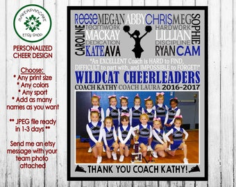 Personalized CHEER COACH GIFT ~ Cheer Team Gift ~ Cheer Subway Design Gift ~ Digital Jpeg File