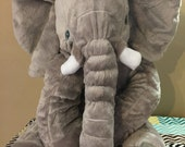Jumbo Stuffed Elephant Pillow giant elephant pillow huge elephant pillow baby elephant pillow embroidered elephant pillow baby gift
