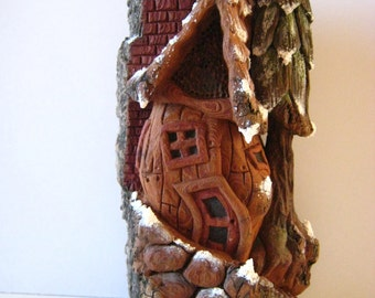 Hand Carved Bark House//Whimsical creation Carved in Cottonwood Bark//Great Gift//Great Decoration