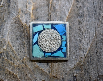 Vintage Turquoise Mexico Sun Slide Pendant, 925 Silver, Used
