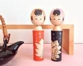 Kokeshi dolls couple / Japanese antique kokeshi in wood / Japanese kokeshi dolls vintage / Kokeshi dolls pair from Japan