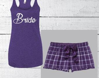 Women's Pajama set, Pajama shorts, Bride PJ's set, personalized pajamas, custom bridal pajamas, custom pj, bride gift, bridesmaid pajamas