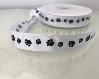 Grosgrain Paw Print Design Ribbon