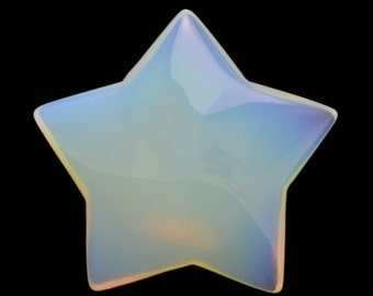 Magical Mystical 5 Pointed Star Opalite Hand Carved Gemstone