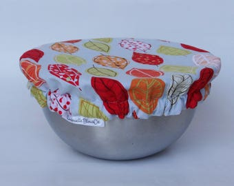 Small covered Bowl - autumn leaves - covers reusable dish - Zero waste