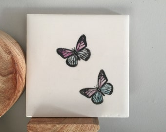 SALE - Square 10 cm Tile or Coaster. Black & White Butterfly Design with a splash of colour.