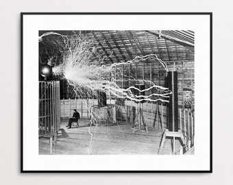 Nikola Tesla Print - Photograph - Vintage Photo - Double Exposure - Electricity - Inventor - Wall Art - Eccentric Art - Home Decor - Oddity