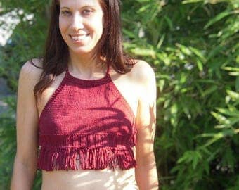 Burgundy Red Knit Halter with Fringe
