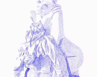 Blue Crosshatch Drawing of Woman on a Chair