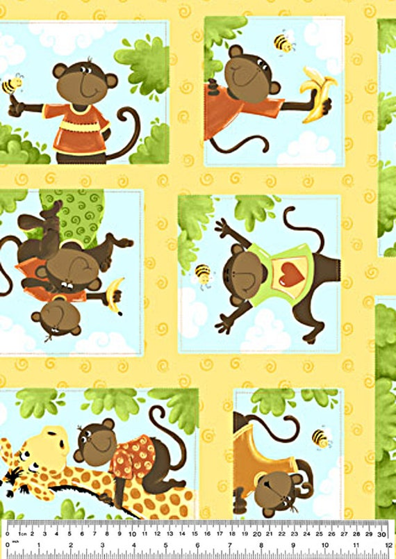 Monkey fabric giraffe fabric nursery fabric quilt for Nursery monkey fabric