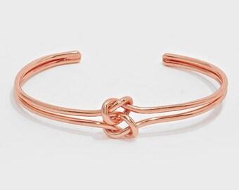 Knot Bracelet, Tie the Knot Bracelet, Rose Gold Double Knot Bracelet, Silver Knot Bracelet, Tie the Knot, Bridesmaid, Love Knot Bracelet