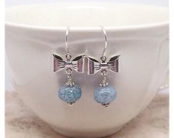 Blue Bow Earrings, Silver Bow Earrings, Mottled Blue Beads, Bow Earrings, Christmas Gift, Ella Rose, Unique Gift, Fancy Earrings,