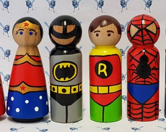 Wooden Peg Dolls - Super Heros & Villains
