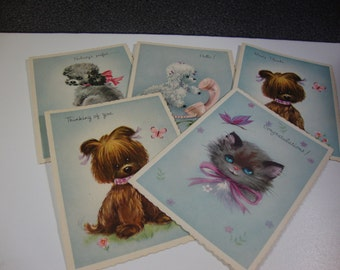 Set of 5 Vintage Greeting Cards Kitschy Animal Themed Note Cards with Envelops Included