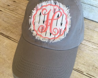 Monogram patch hat, Gray and coral baseball hat, ball cap, arrows, gift under 20, gift for wife, gift for friend, customized colors