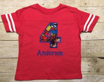 Boys birthday shirt, superhero birthday shirt, superhero birthday party, short sleeve, red, blue, green, grey, black,