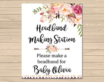 baby shower headband station instructions