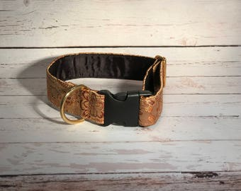 MADE TO ORDER- Silky Gold Paisley Dog Collar, Choose width- Buckle or Martingale- add Embroidery and/or Leash