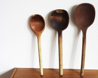 Vintage set king spoons, large wooden spoon, spoon for kitchen, wall decoration bohemian style, farmer style