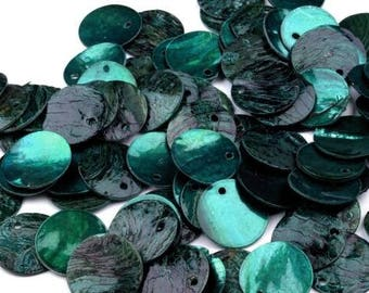 40 round 15 mm mother of Pearl discs in teal