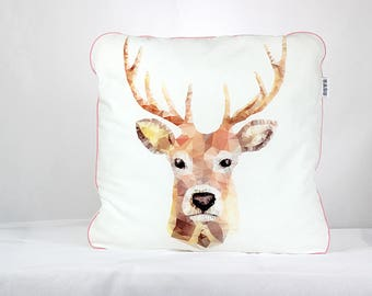 Baby pillow, nursery pillow, Girl Pillow, decorative pillow, Throw Pillow, Kid Soft Pillow, Minky pillow,  Deer pillow