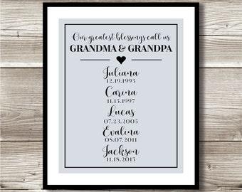 Our Greatest Blessings Call Us Grandma & Grandpa; Digital print; grandparents gift, Gift for Grandparents, Grandchildren blessings