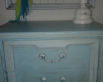 Chalk painted blue nightstand/side table