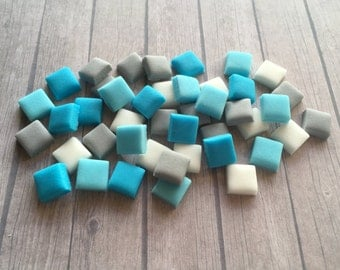 100 Edible Small Minecraft Style Diamond theme Squares pixels cake decorations - 1cm