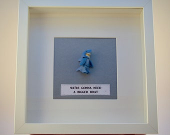 Shark man LEGO mini Figure framed picture 25 by 25 cm