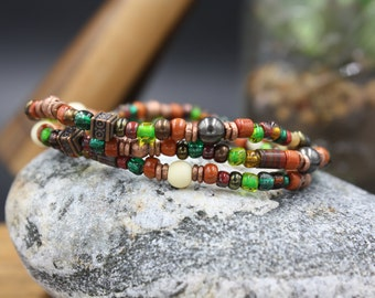 Men's Beaded Bracelet, 100 Year Old  Murano Glass Beads, African Bone Beads, Copper, Ramapo Bracelet