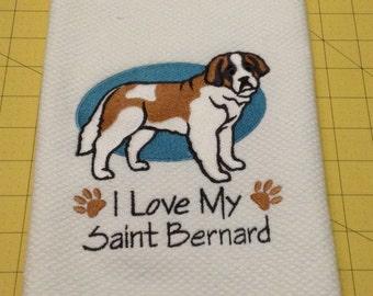 I Love My Saint Bernard Williams Sonoma All Purpose Embroidered Kitchen Hand Towel 100% cotton, XLarge